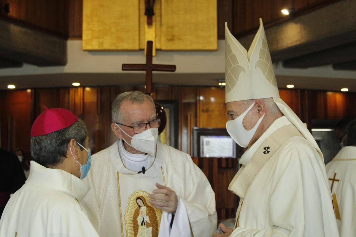 El Secretario de Estado de la Santa Sede en su llegada a la Basílica de Guadalupe. Foto: INBG/Cortesía.