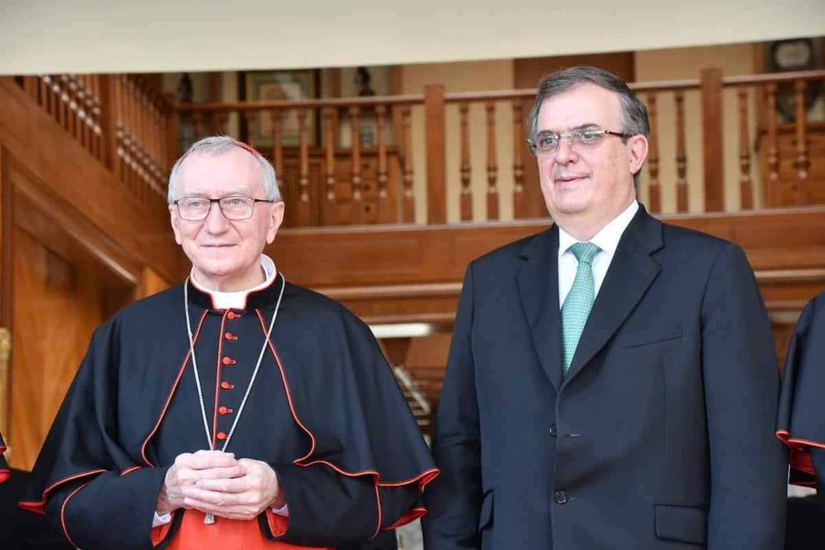 El Secretario de Estado del Vaticano, el Card. Pietro Parolin y el Secretario de Relaciones Exteriores de México, Marcelo Ebrard. Foto: SRE México