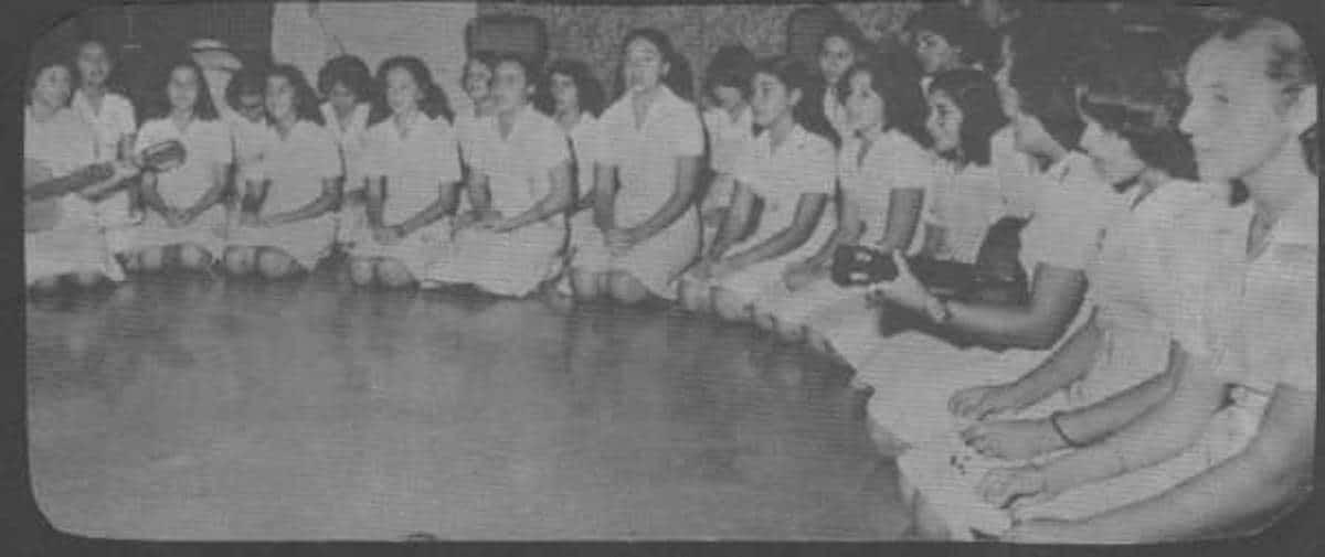 """Concurso de canciones marianas, mayo de 1978, en el que Magda Crisantes y su equipo ganaron con la canción """"Niña"""". Foto: Cortesía Magda Crisantes."""