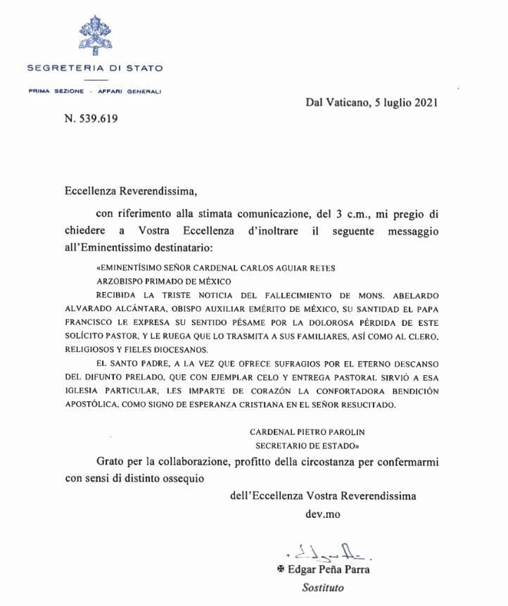 Condolencias del Papa Francisco por la muerte de Mons. Abelardo Alvarado Alcántara