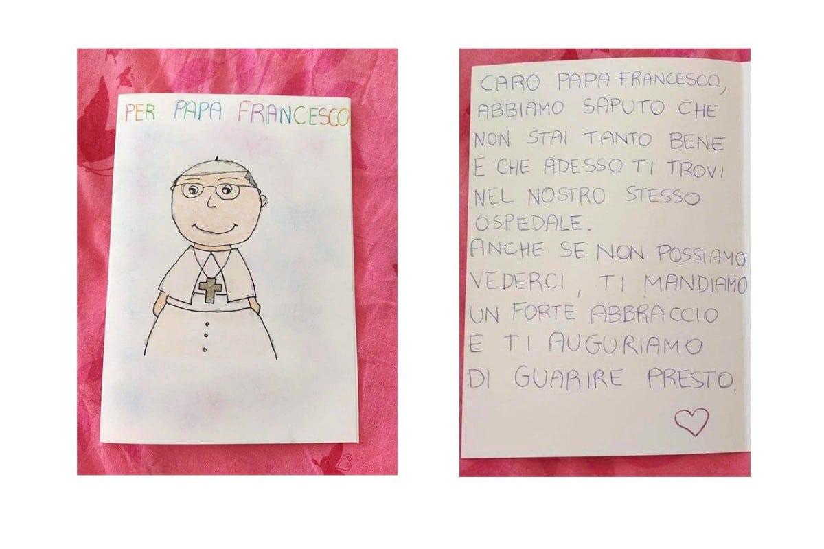 La carta que los niños pacientes de oncología enviaron al Papa Francisco. Foto: Vatican News.