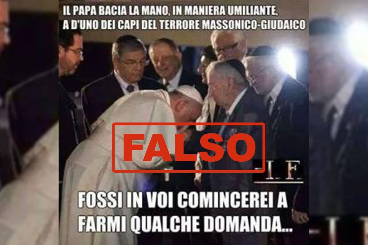 El falso que el Papa esté saludando a prominentes masones. Son sobrevivientes del holocausto.