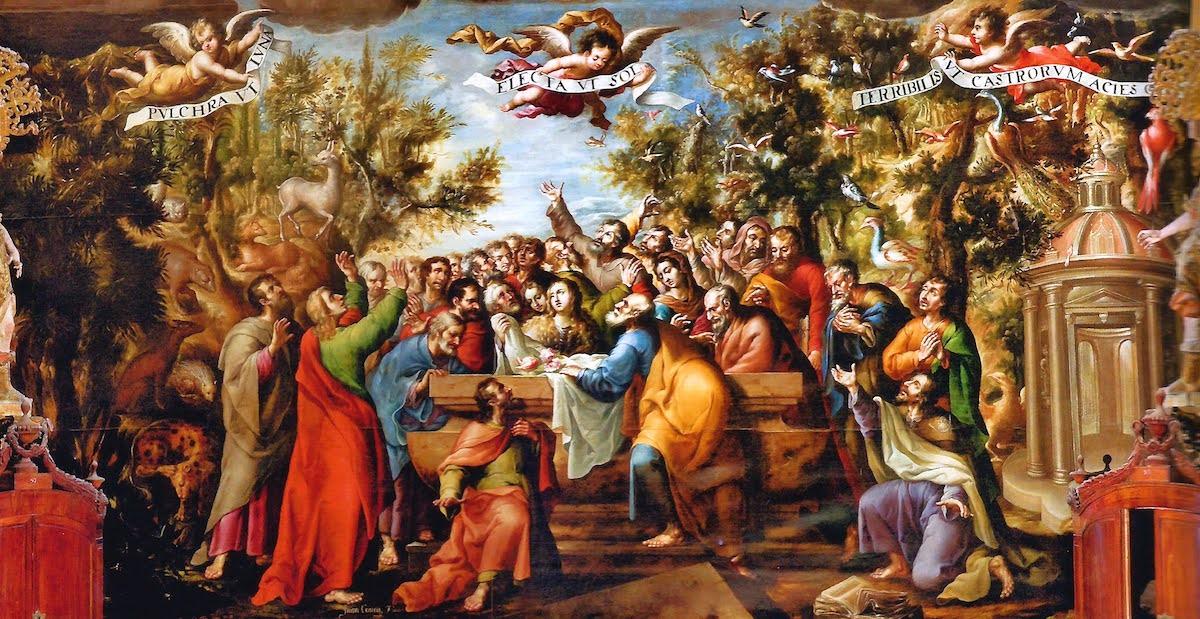 """Detalle de la parte inferior del lienzo """"Asunción y Coronación de la Virgen"""". Óleo sobre tela del pincel de Juan Correa (1689)"""