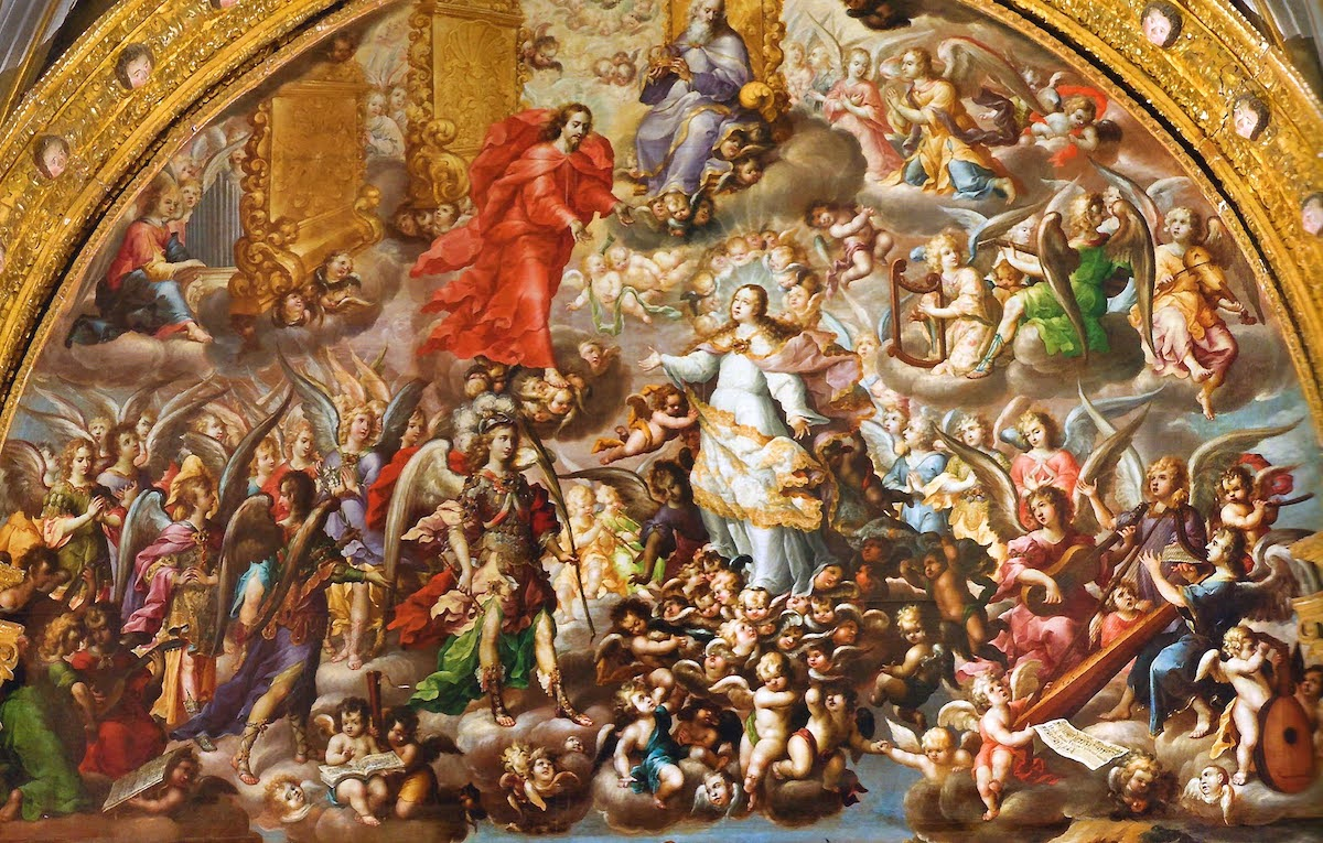 """Detalle de la parte superior del lienzo """"Asunción y Coronación de la Virgen"""". Óleo sobre tela del pincel de Juan Correa (1689)"""