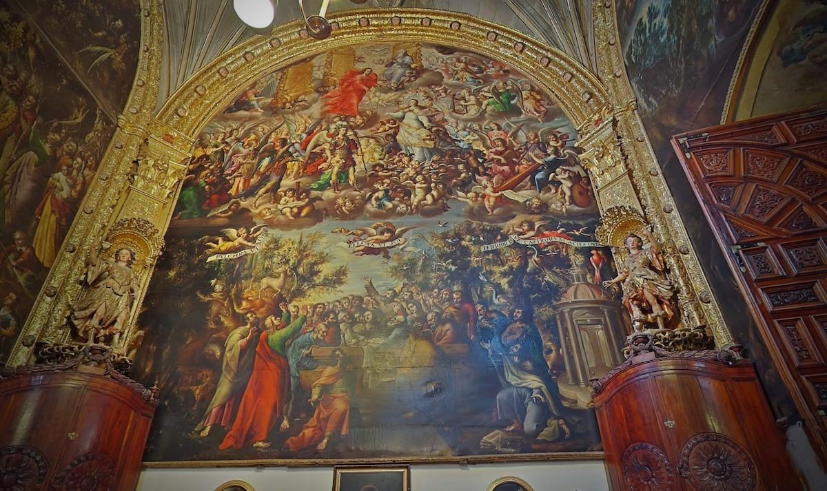 """Lienzo """"Asunción y Coronación de la Virgen"""". Óleo sobre tela del pincel de Juan Correa (1689)"""
