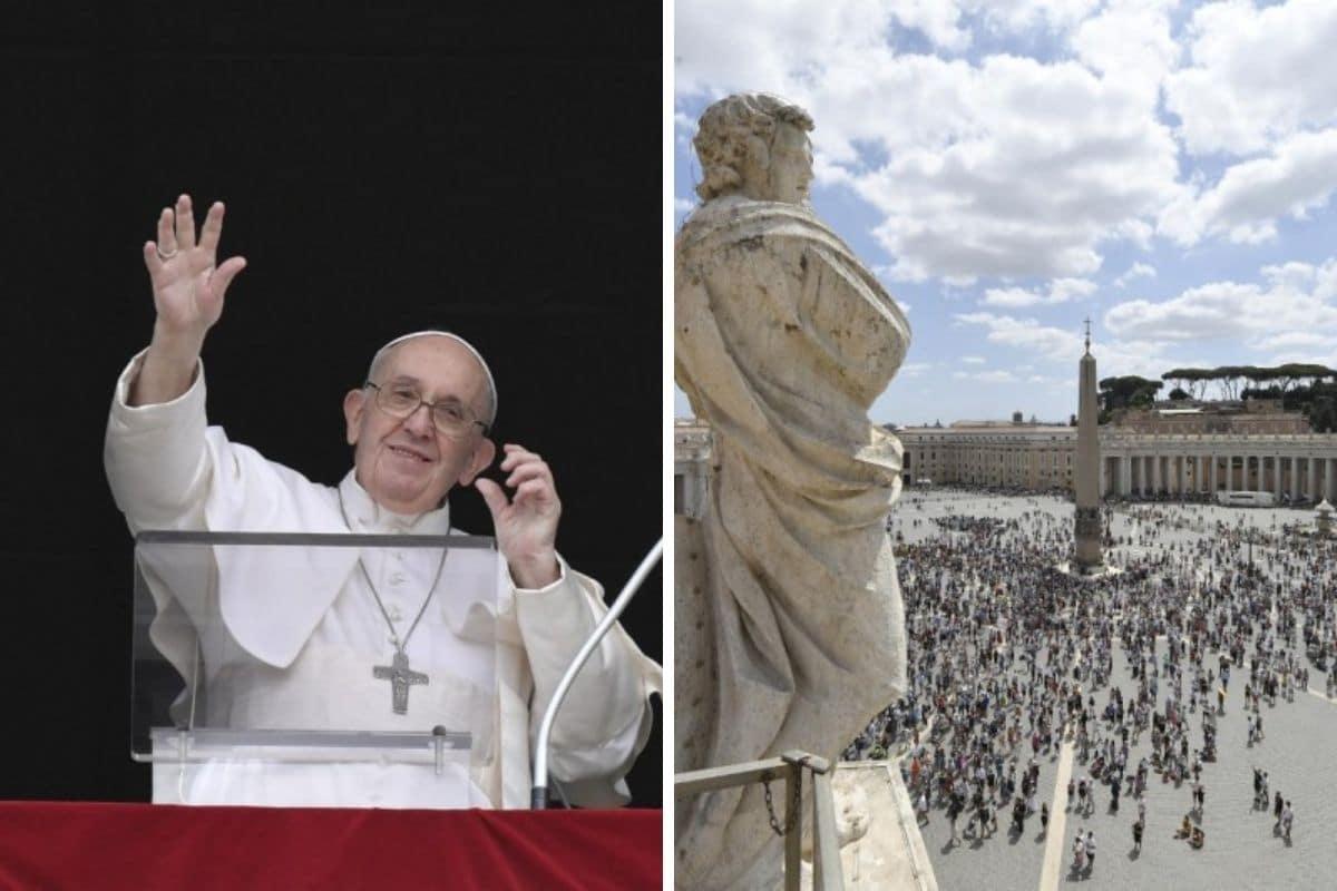 El Papa Francisco dirige el Ángelus ante los fieles reunidos en la plaza de San Pedro. Foto: Vatican Media.