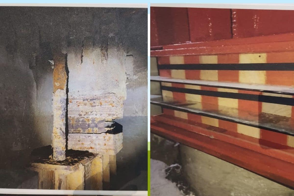 Pilotes antes y después. Fotografías tomadas de la exposición de Catedral sobre la restauracion.