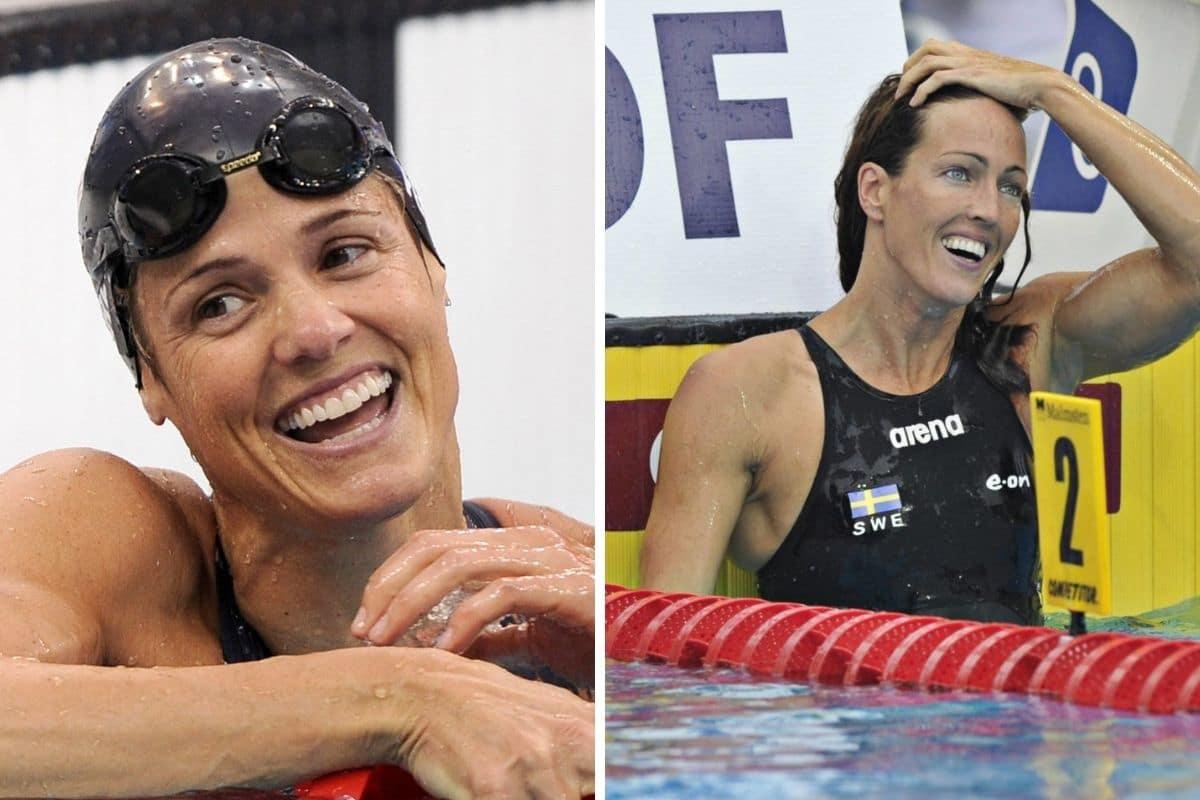Las nadadoras olímpicas Dara Torres (izq.) y Therese Alshammar de Suecia.