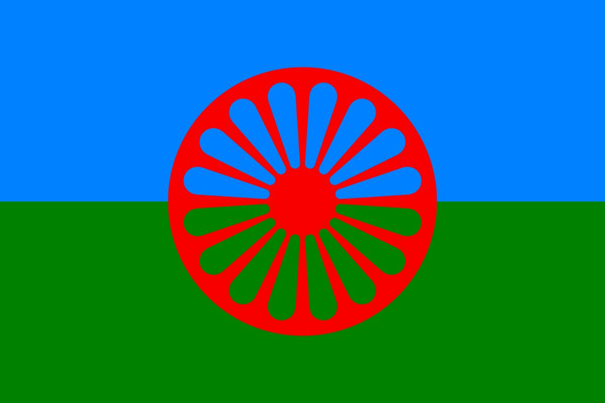 Bandera del Día Internacional del Pueblo Gitano.