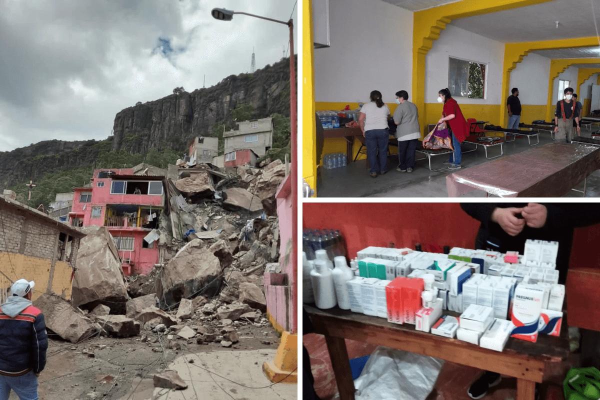 Comunidad católica se vuelca a ayudar tras derrumbe en el Chiquihuite