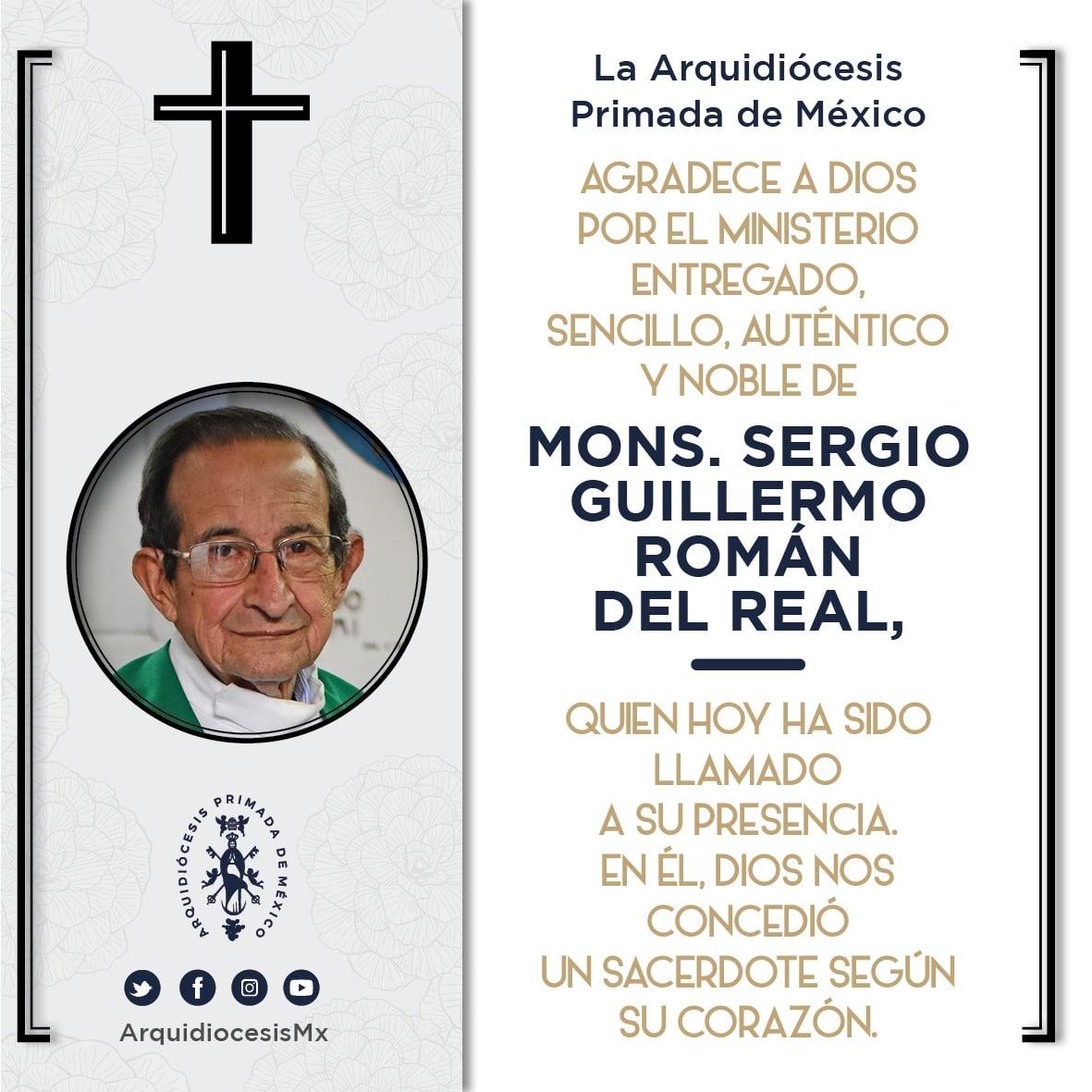 Esquela de la Arquidiócesis de México por el fallecimiento del P. Sergio Román del Real