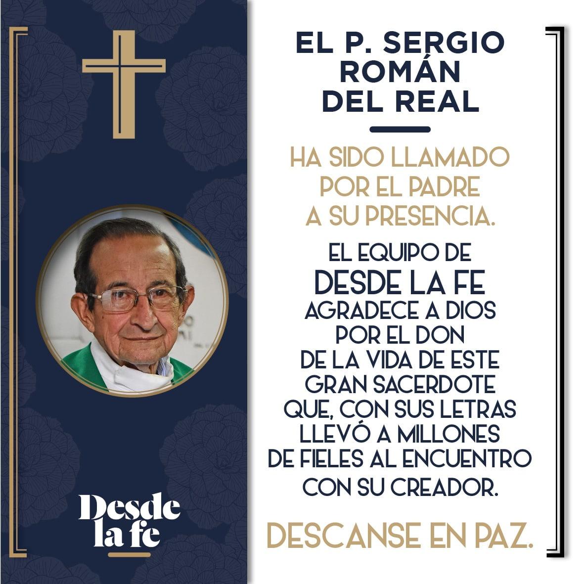 Esquela del equipo de Desde la fe para el P. Sergio Román del Real